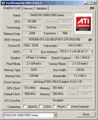 HIS Radeon X600 XT GPUZ